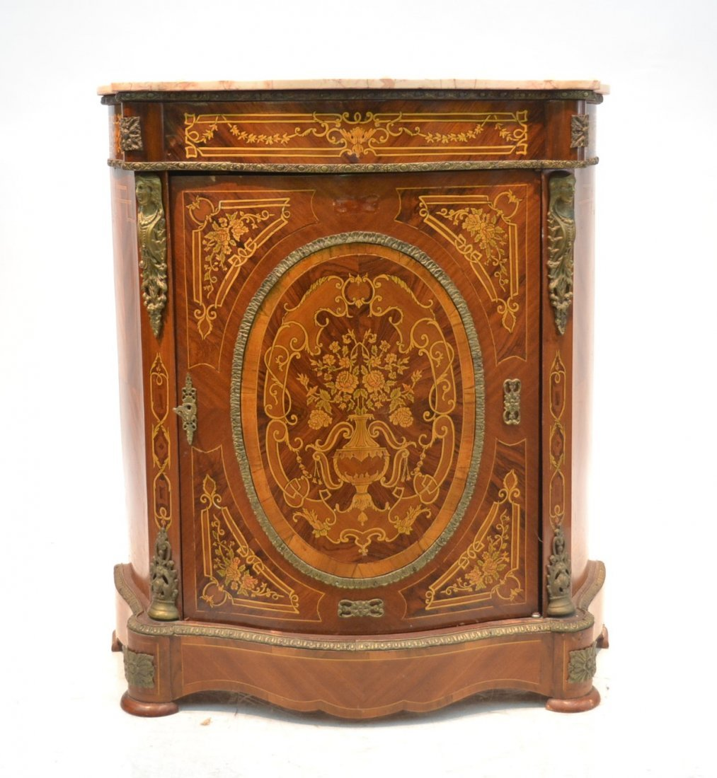 CONTEMPORARY INLAID SIDE CABINET WITH BRONZE