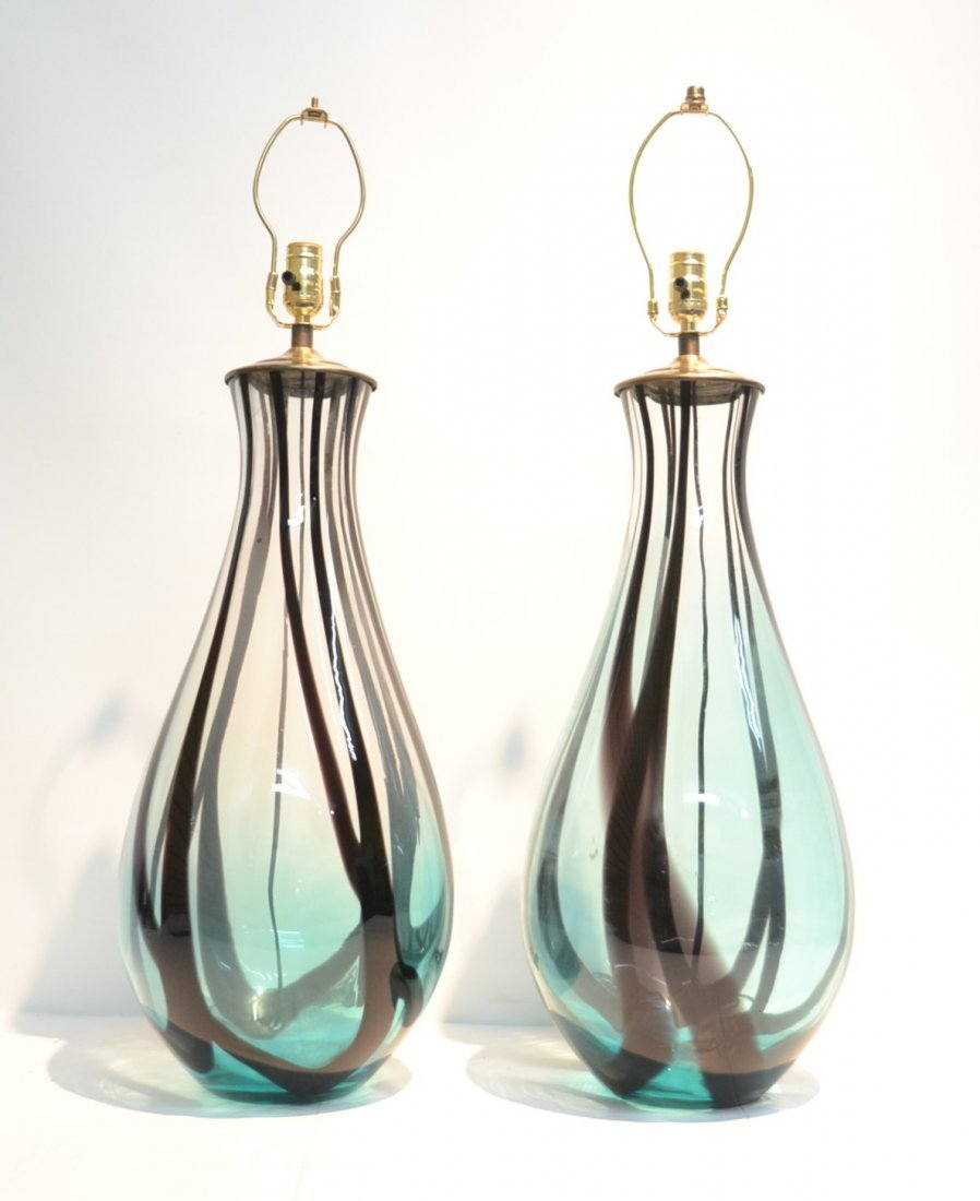 (Pr) TALL MURANO ART GLASS TABLE LAMPS WITH