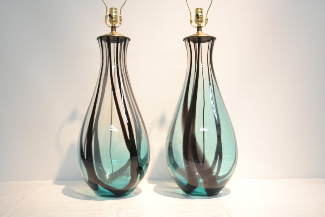 (Pr) TALL MURANO ART GLASS TABLE LAMPS WITH - 3