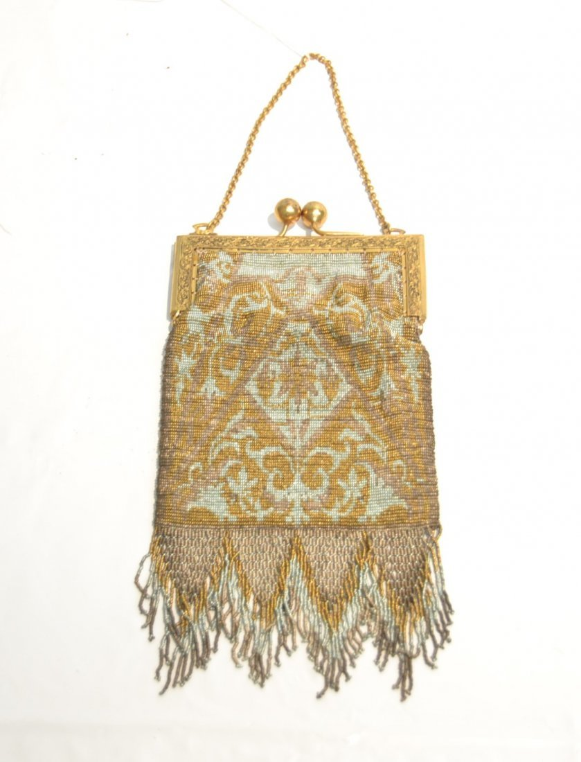 VICTORIAN BEADED BAG WITH LONG FRINGE