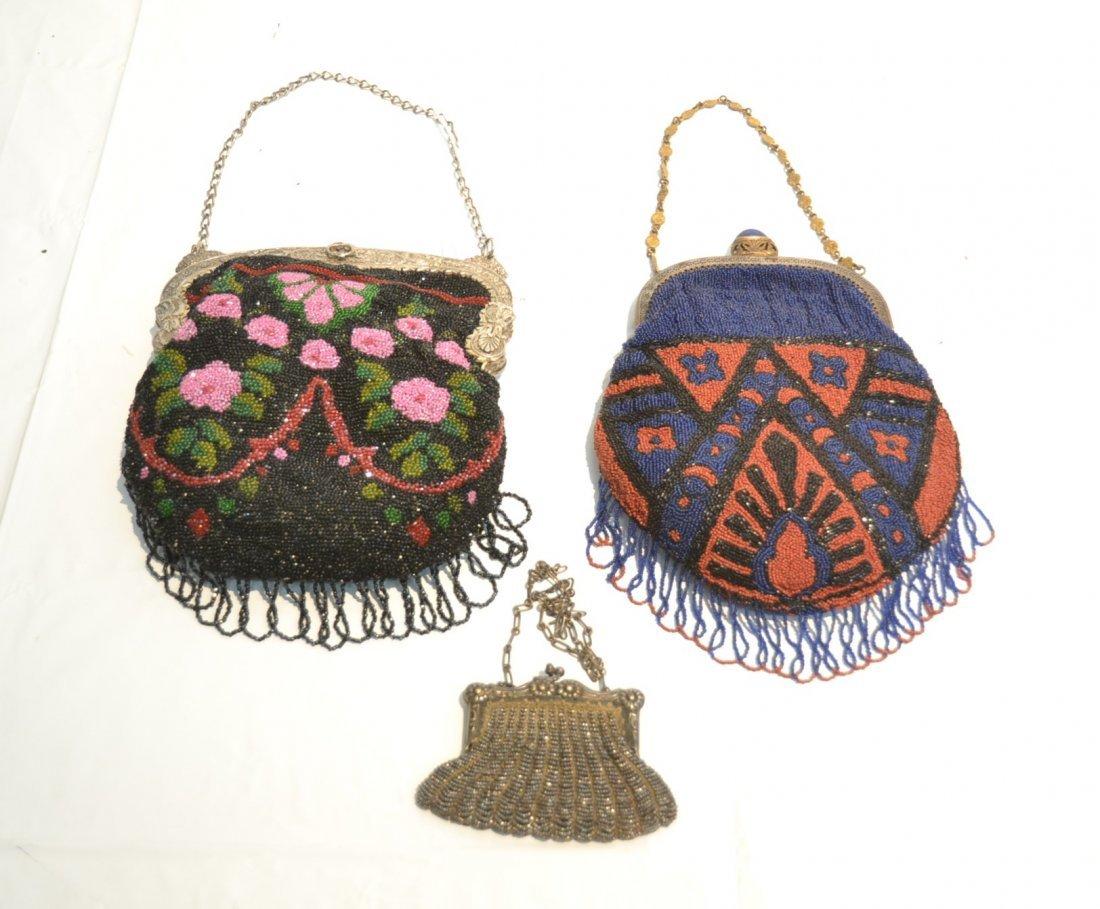 (2) VINTAGE BEADED BAGS & SILVER PLATE BEADED BAG