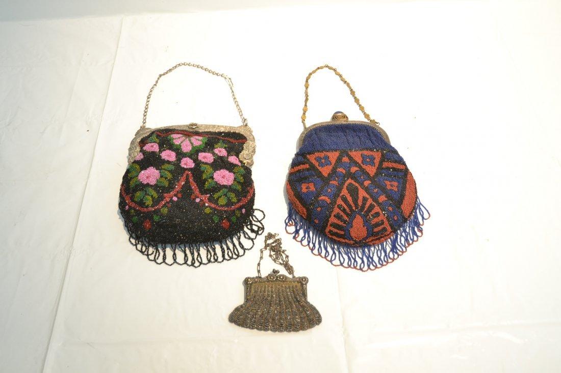 (2) VINTAGE BEADED BAGS & SILVER PLATE BEADED BAG - 2