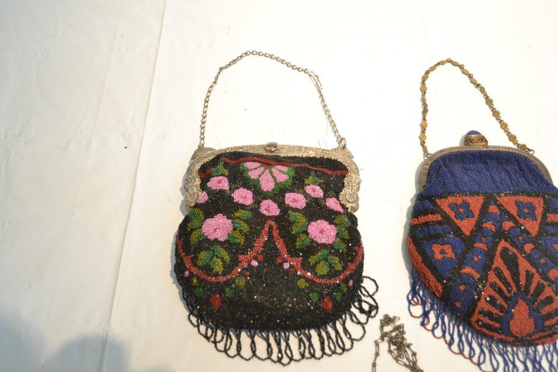 (2) VINTAGE BEADED BAGS & SILVER PLATE BEADED BAG - 5