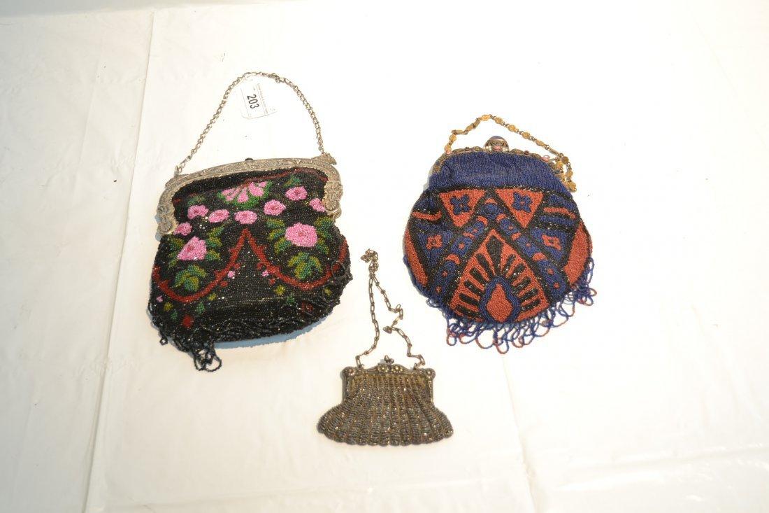 (2) VINTAGE BEADED BAGS & SILVER PLATE BEADED BAG - 7