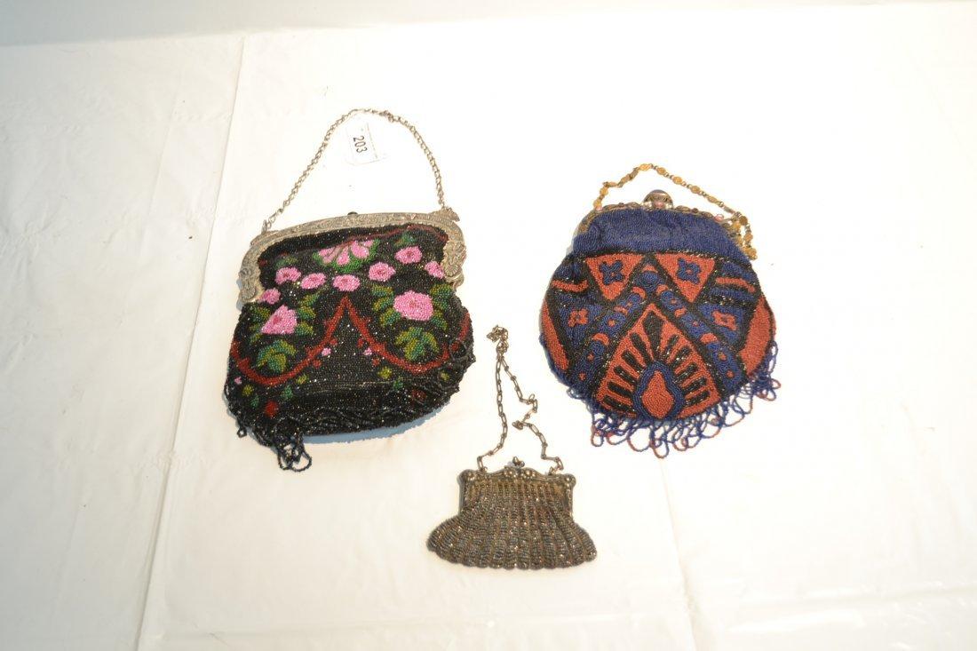 (2) VINTAGE BEADED BAGS & SILVER PLATE BEADED BAG - 8
