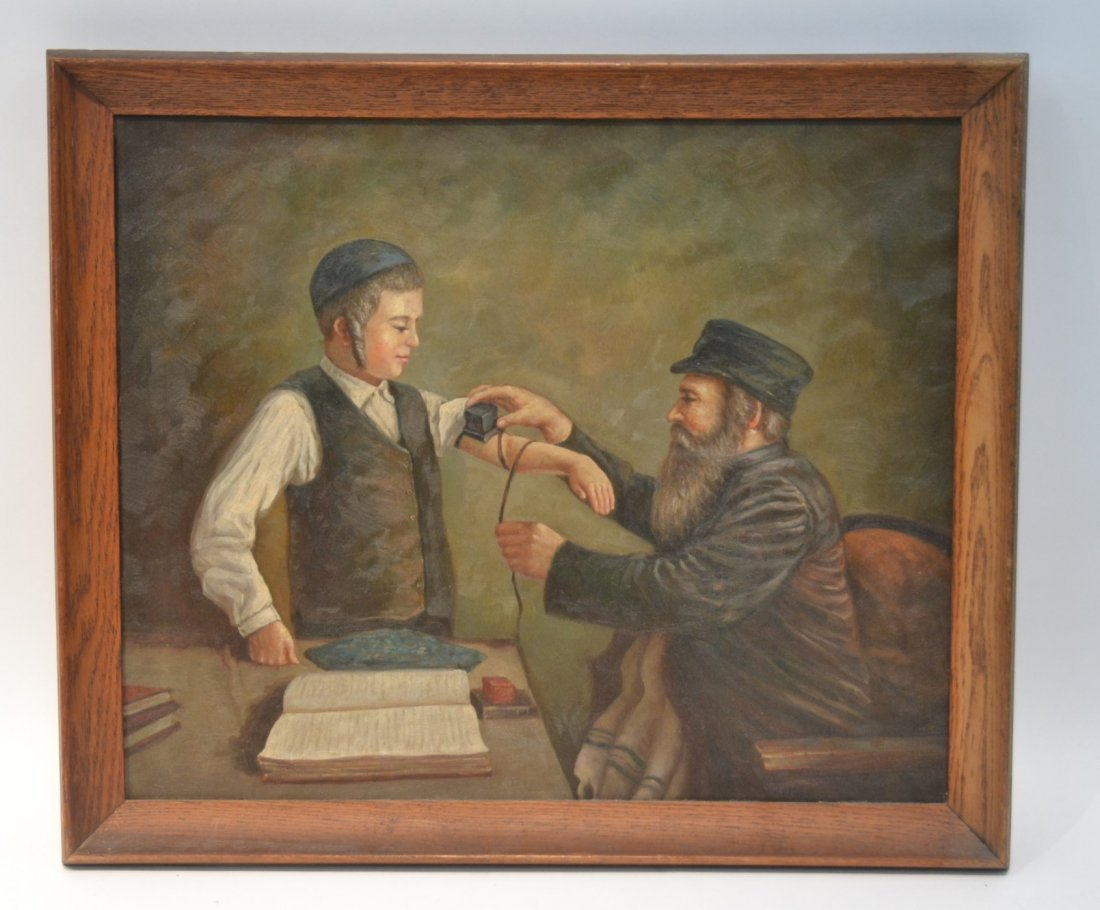JUDAICA OIL ON CANVAS RABBI PRAYING WITH YOUNG BOY