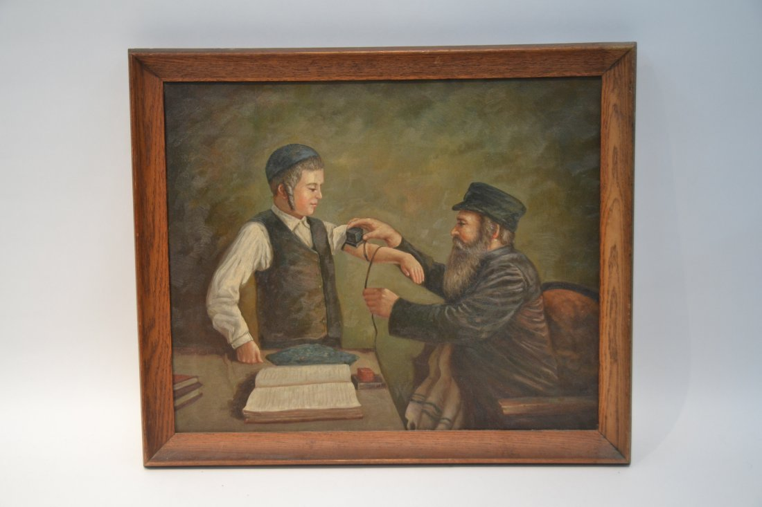 JUDAICA OIL ON CANVAS RABBI PRAYING WITH YOUNG BOY - 2
