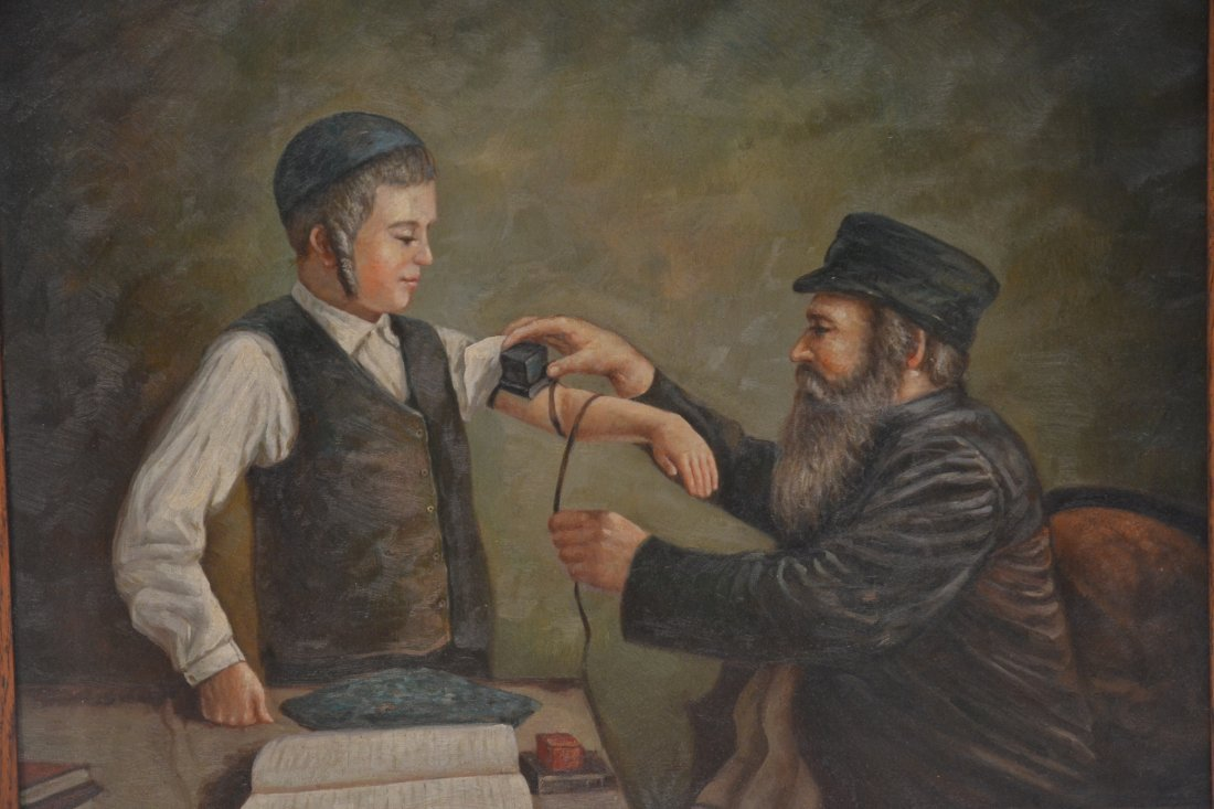 JUDAICA OIL ON CANVAS RABBI PRAYING WITH YOUNG BOY - 3