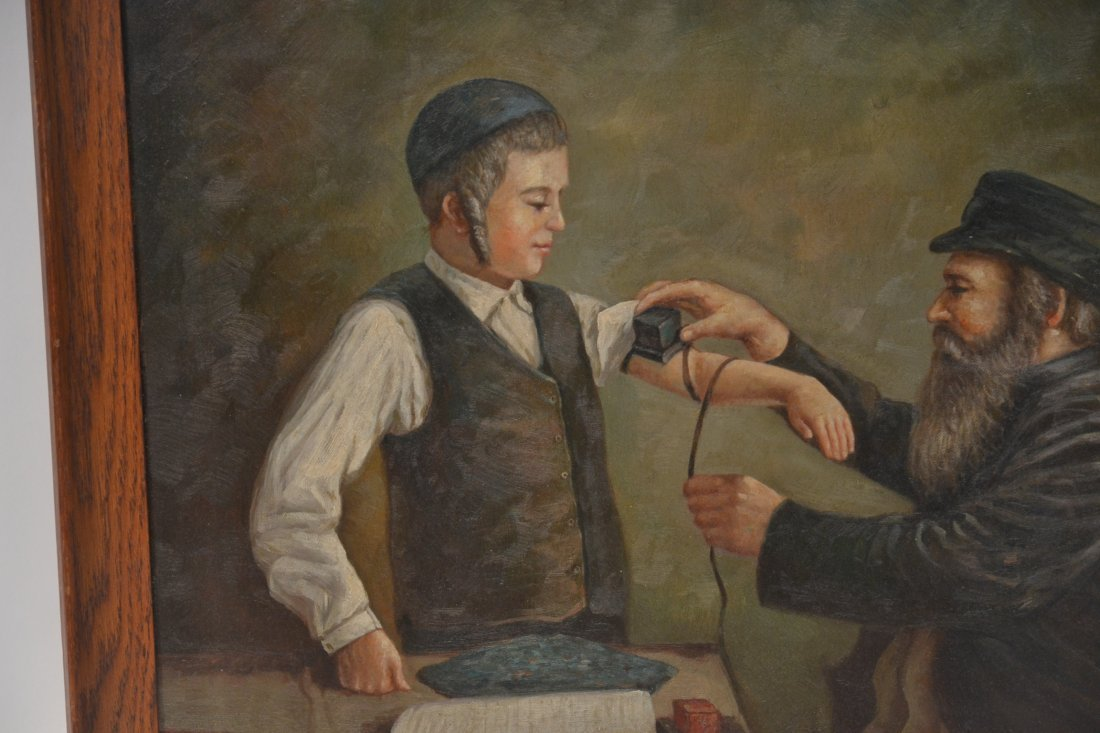 JUDAICA OIL ON CANVAS RABBI PRAYING WITH YOUNG BOY - 5