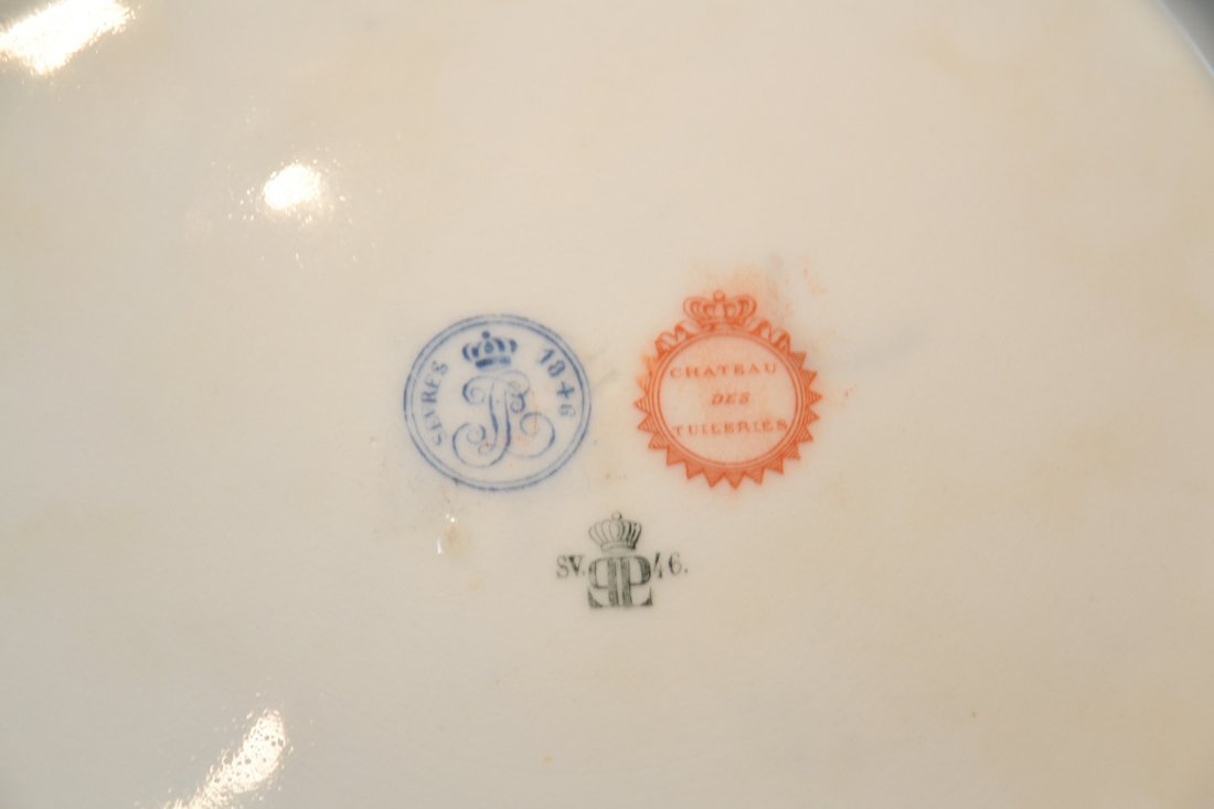 HAND PAINTED SEVRES ST. CLOUD CHATEAU PLATE WITH - 8