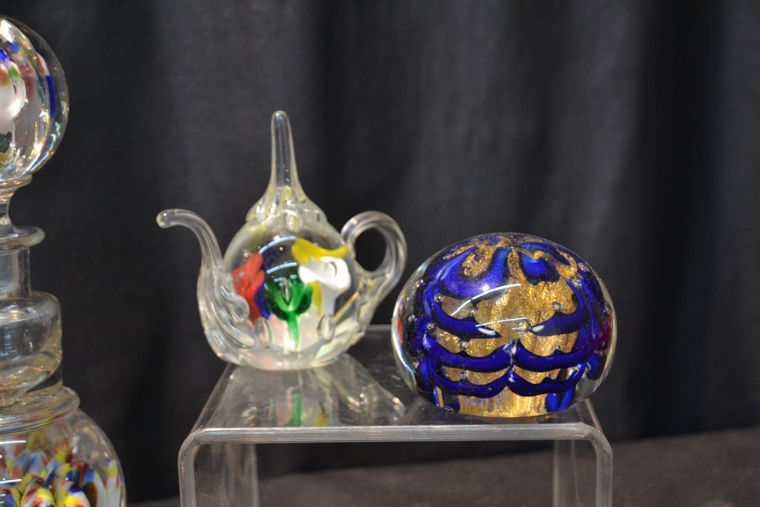 (7) ASSORTED ART GLASS PAPERWEIGHTS INCLUDING - 2