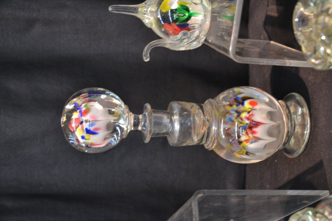 (7) ASSORTED ART GLASS PAPERWEIGHTS INCLUDING - 5