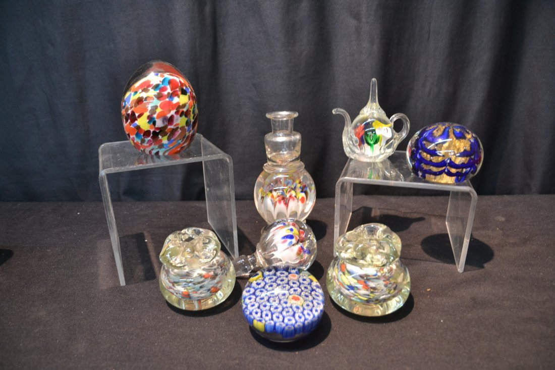 (7) ASSORTED ART GLASS PAPERWEIGHTS INCLUDING - 6