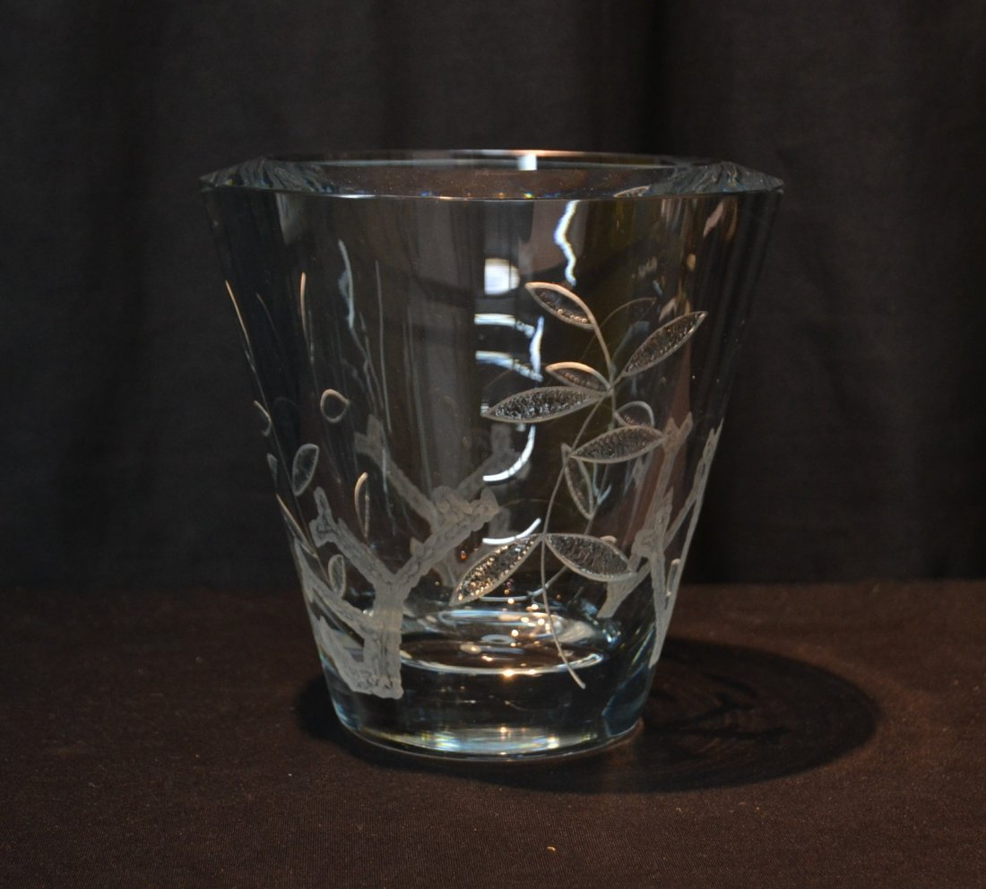 """HEAVY ETCHED GLASS VASE - 8"""" x 7 1/2'"""