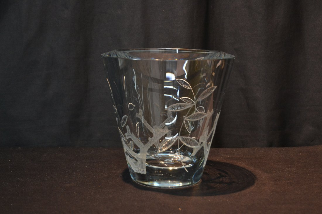 """HEAVY ETCHED GLASS VASE - 8"""" x 7 1/2' - 2"""