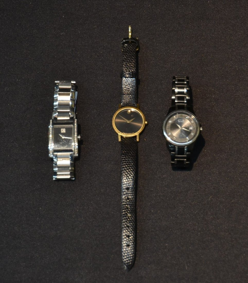(3) WATCHES INCLUDING (2) MOVADO WITH DIAMONDS &