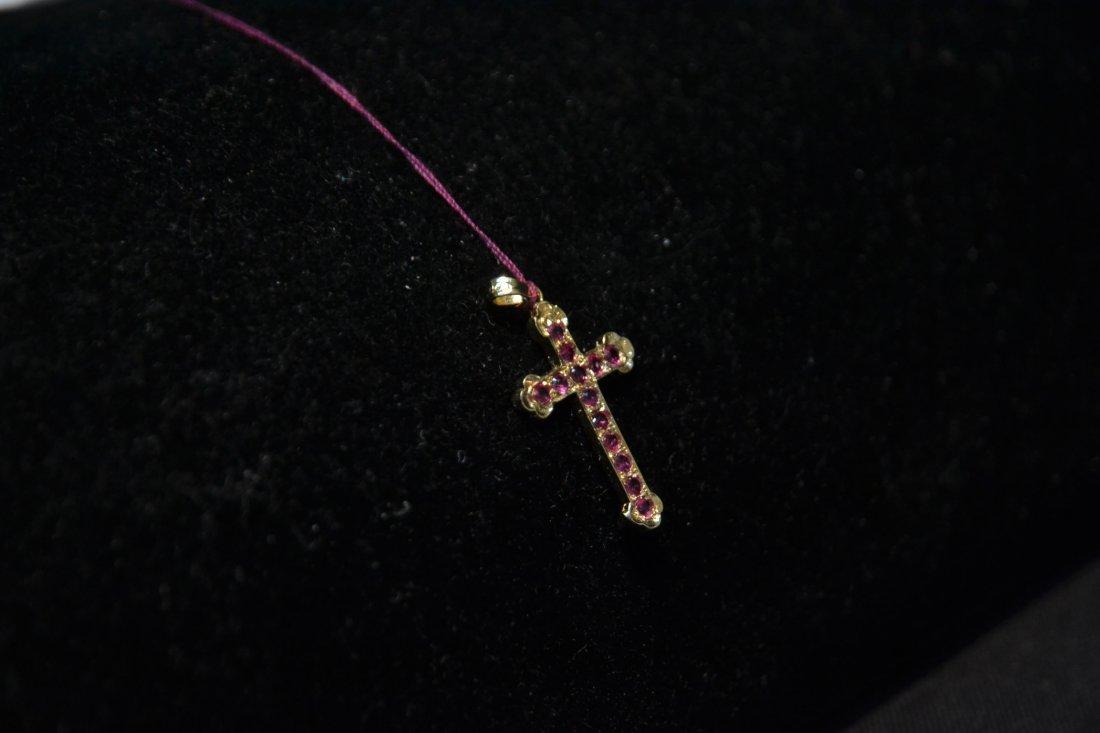 "14kt GOLD & (13) RUBY CROSS - 1/2"" x 1"" - 4"
