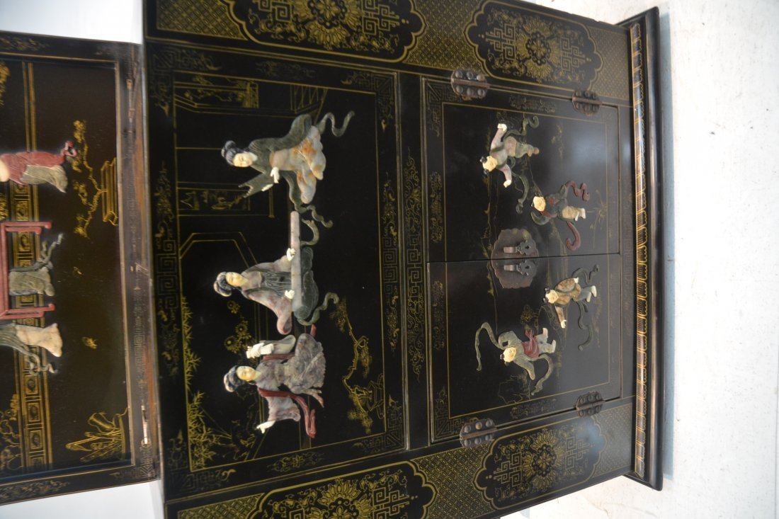 ORIENTAL BLACK LACQUERED BAR WITH RAISED - 6