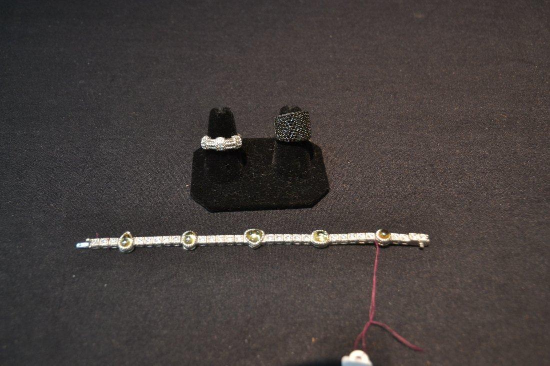 JUDITH RIPKA BRACELET , RING & BLACK STONE RING - 10