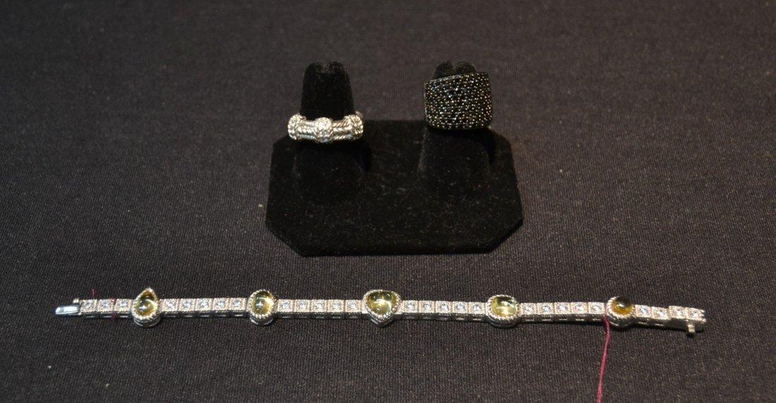 JUDITH RIPKA BRACELET , RING & BLACK STONE RING