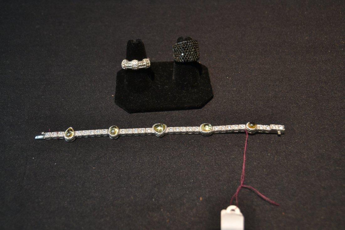 JUDITH RIPKA BRACELET , RING & BLACK STONE RING - 5
