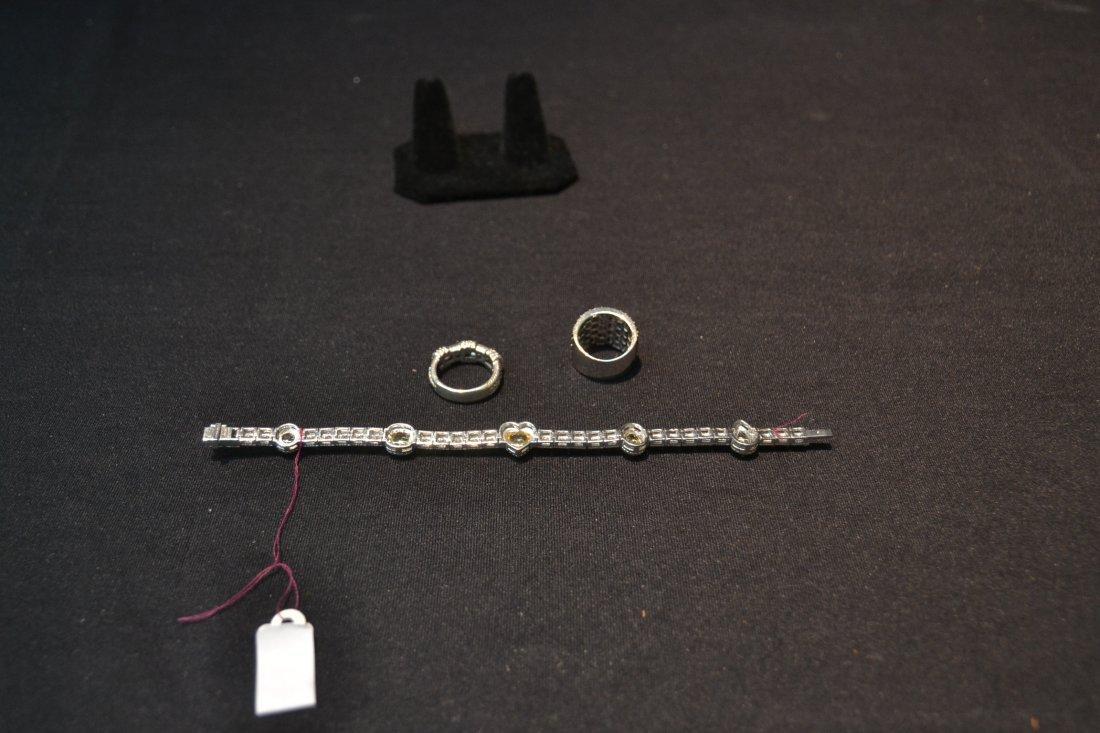 JUDITH RIPKA BRACELET , RING & BLACK STONE RING - 8