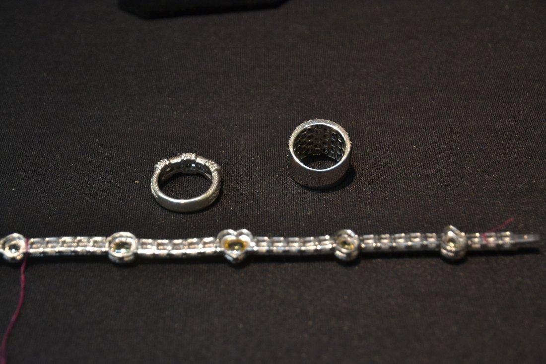 JUDITH RIPKA BRACELET , RING & BLACK STONE RING - 9