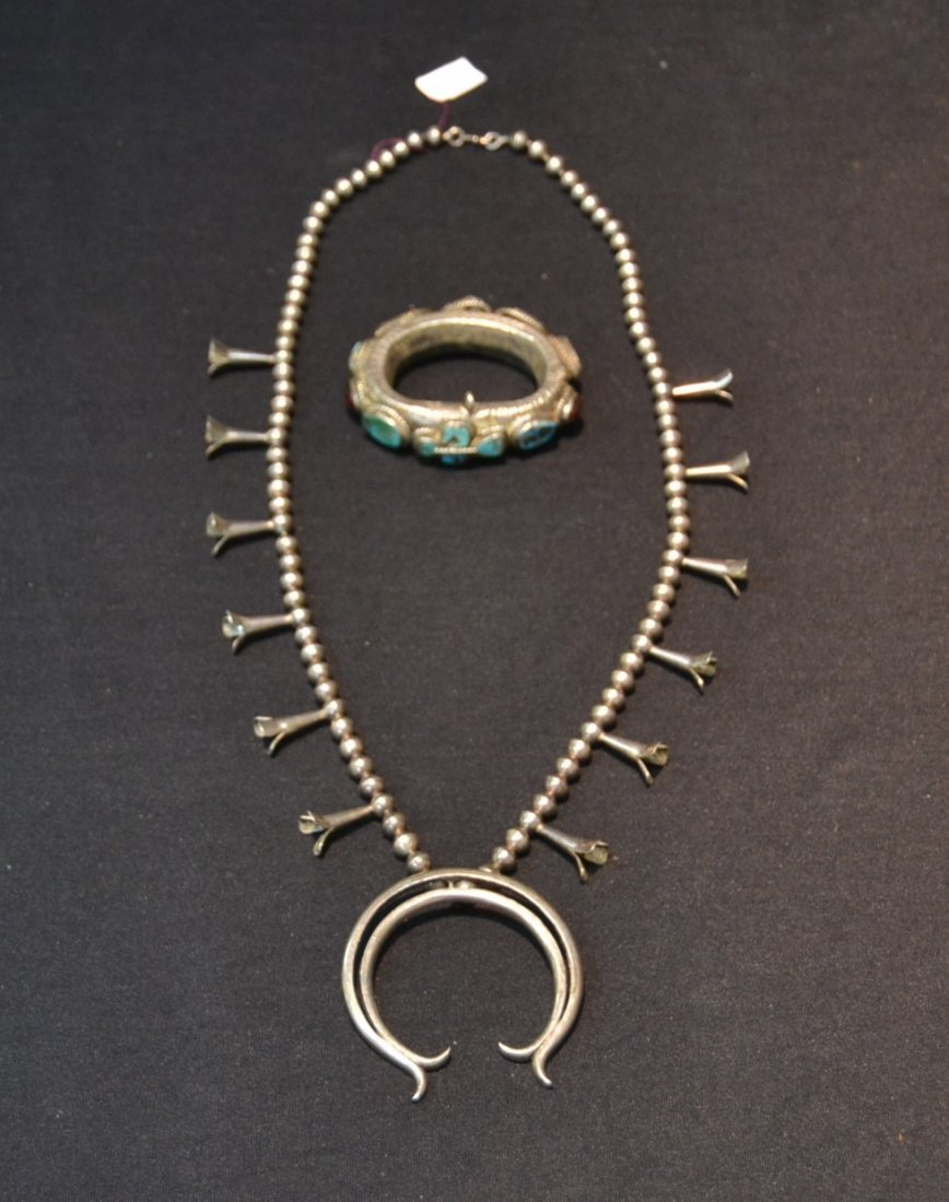 NATIVE AMERICAN STERLING SQUASH BLOSSUM NECKLACE