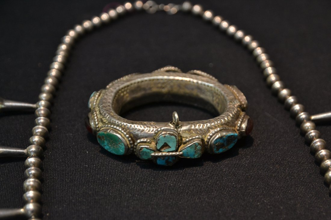NATIVE AMERICAN STERLING SQUASH BLOSSUM NECKLACE - 2