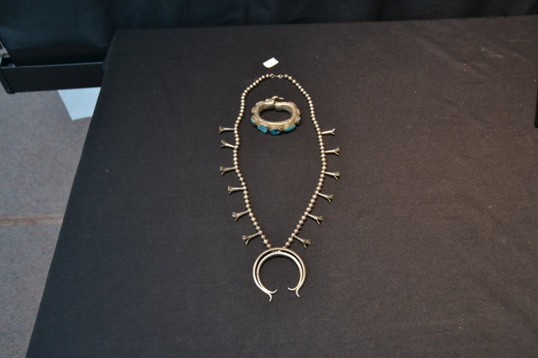 NATIVE AMERICAN STERLING SQUASH BLOSSUM NECKLACE - 6