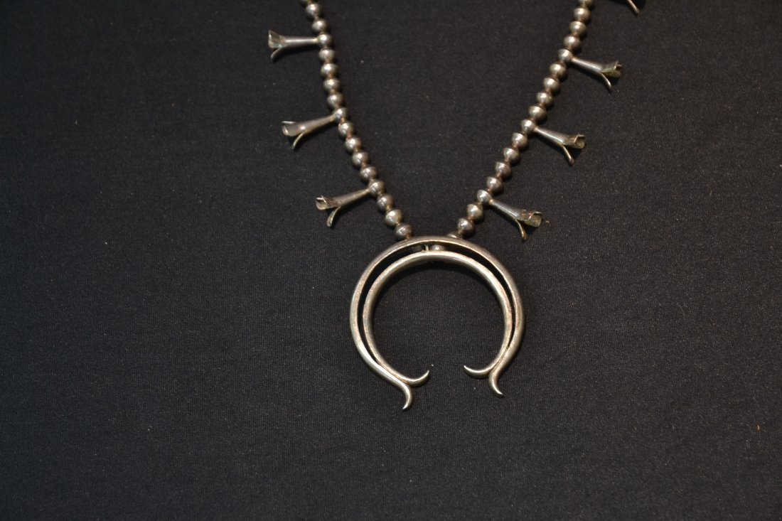 NATIVE AMERICAN STERLING SQUASH BLOSSUM NECKLACE - 7