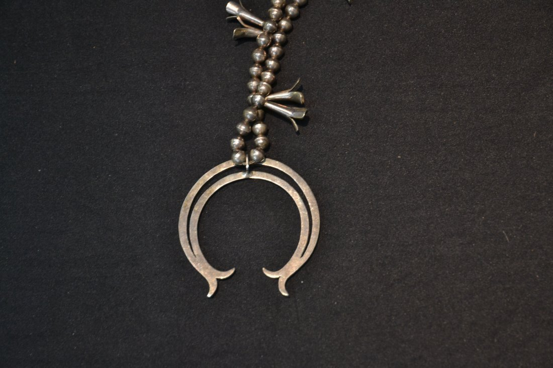 NATIVE AMERICAN STERLING SQUASH BLOSSUM NECKLACE - 8