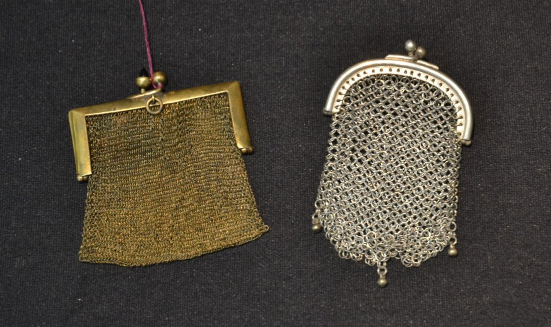 (2) SILVER MESH MINIATURE BAG PENDANTS