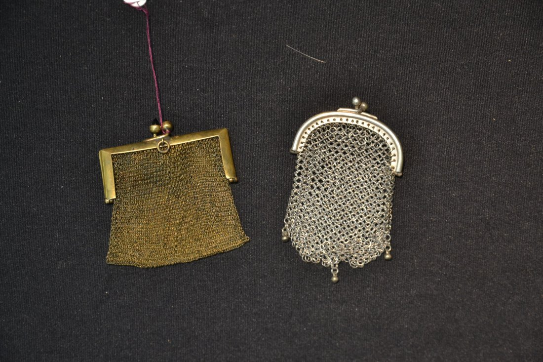(2) SILVER MESH MINIATURE BAG PENDANTS - 2
