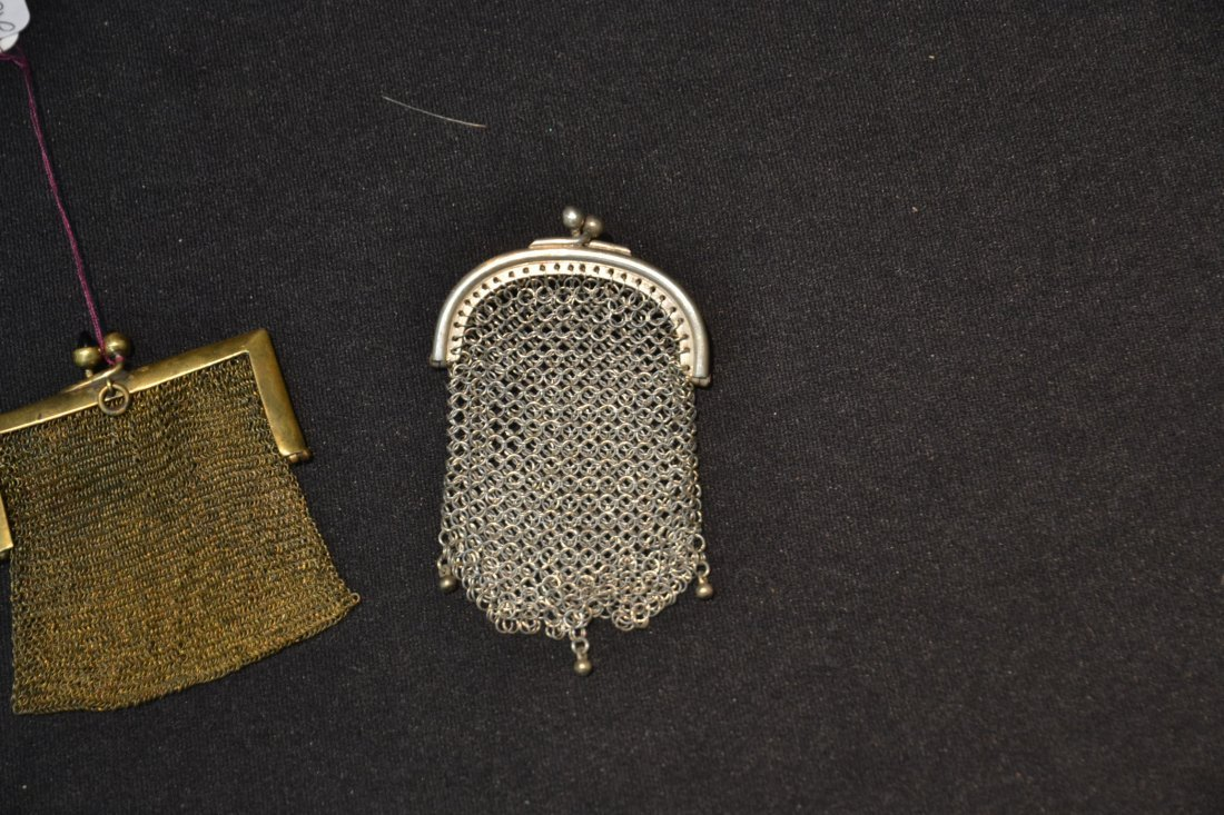 (2) SILVER MESH MINIATURE BAG PENDANTS - 3