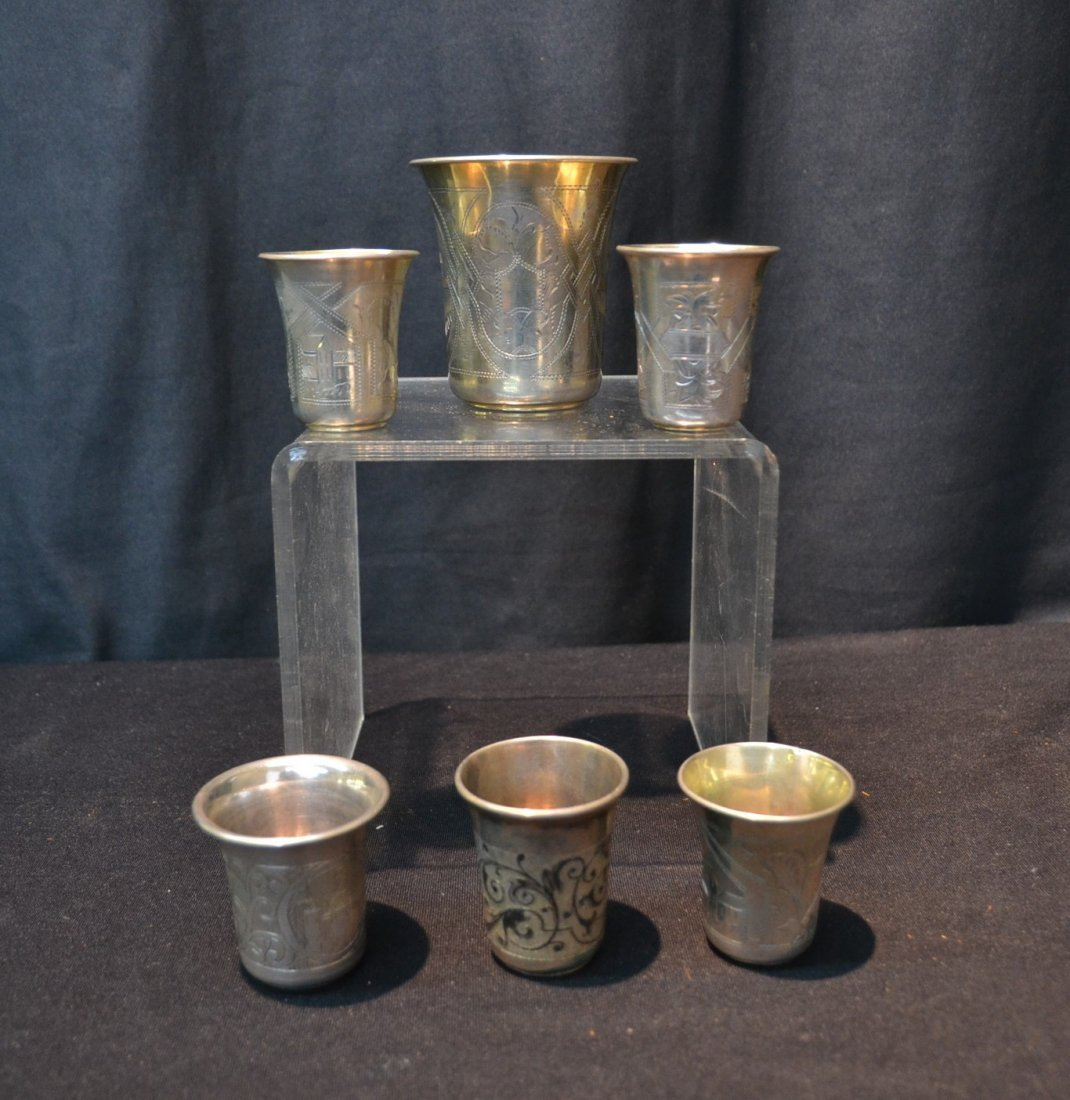 (6) 84 RUSSIAN SILVER CUPS ; 6.61ozt