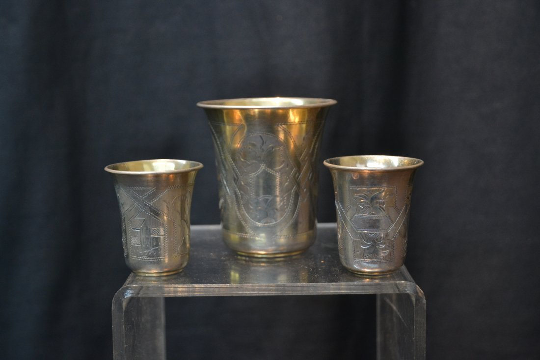 (6) 84 RUSSIAN SILVER CUPS ; 6.61ozt - 2