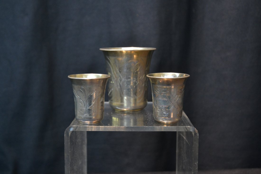 (6) 84 RUSSIAN SILVER CUPS ; 6.61ozt - 5