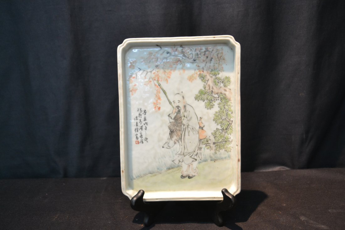 ORIENTAL PORCELAIN PLATTER OF CHINESE MAN - 2