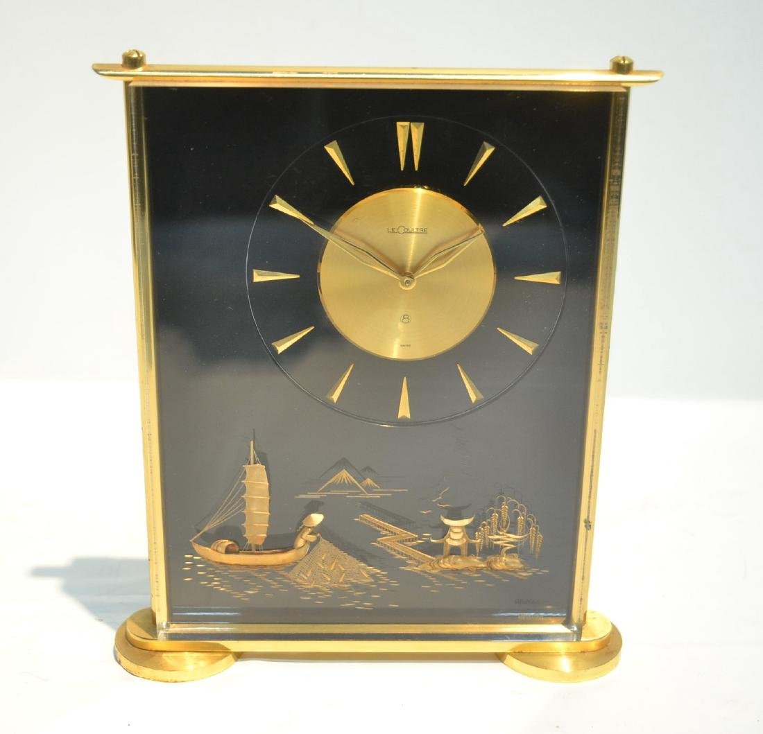 LeCOULTRE DESK CLOCK WITH CHINOISERIE MOTIF