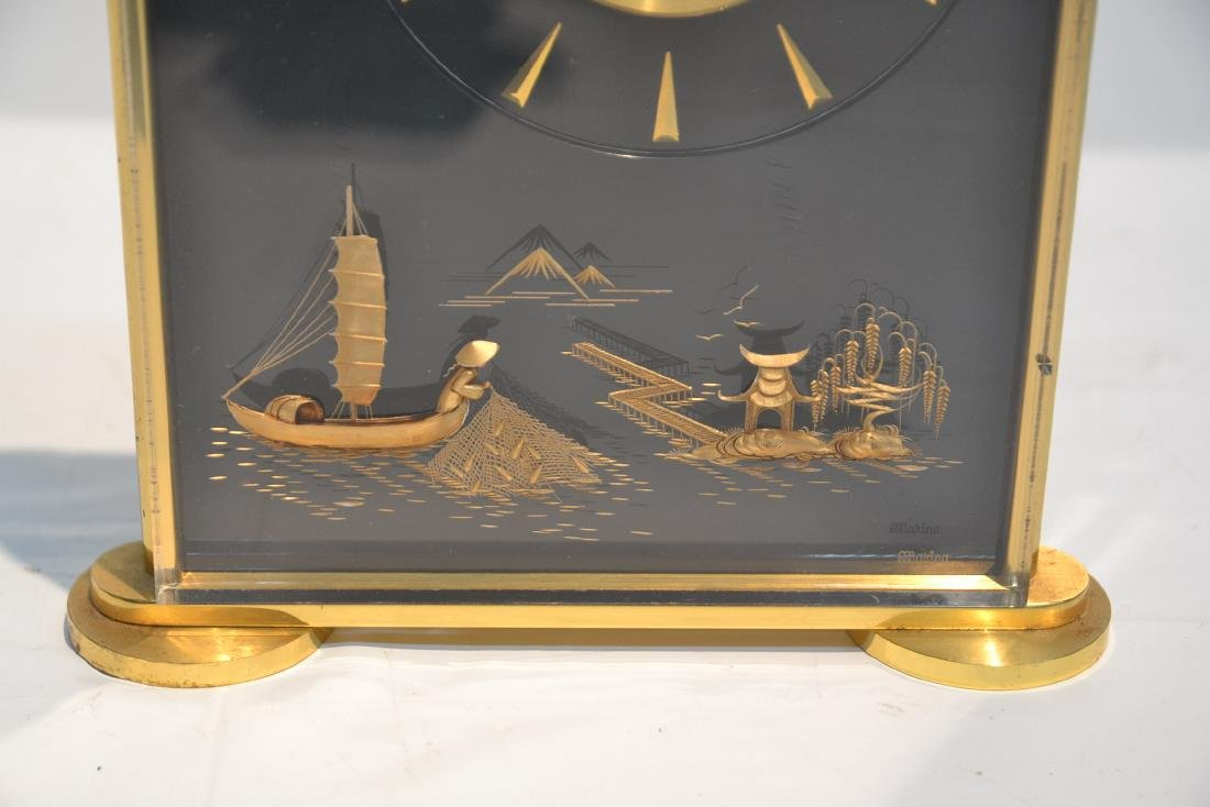 LeCOULTRE DESK CLOCK WITH CHINOISERIE MOTIF - 2
