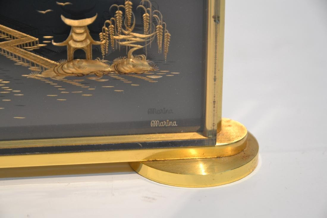 LeCOULTRE DESK CLOCK WITH CHINOISERIE MOTIF - 5