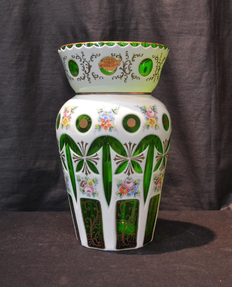 GREEN & WHITE BOHEMIAN VASE WITH FLOWERS