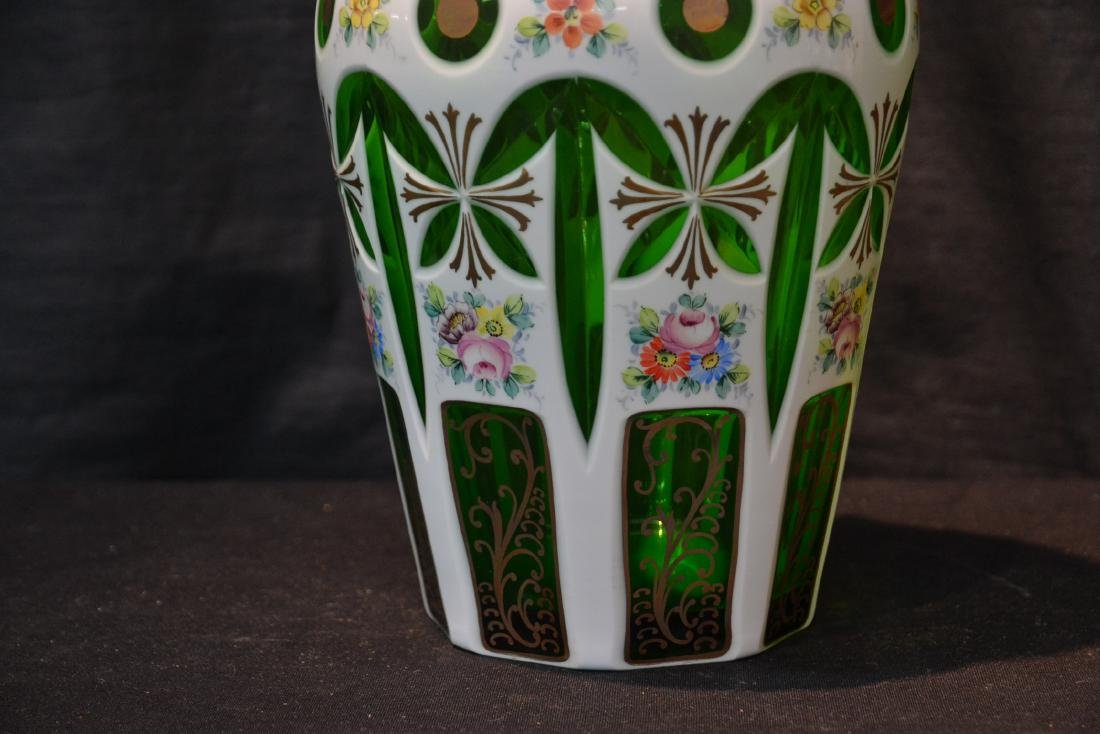 GREEN & WHITE BOHEMIAN VASE WITH FLOWERS - 3