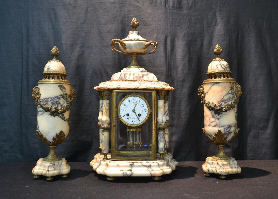 (3)pc MARBLE & BRONZE CLOCK SET CONSISTING OF