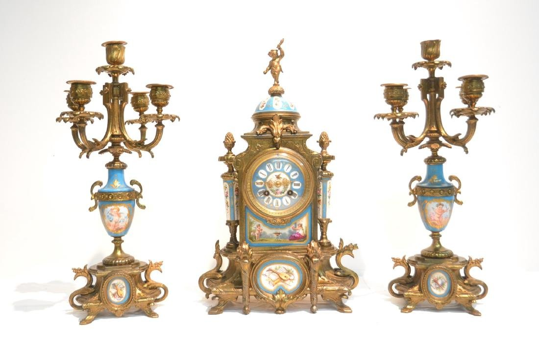 (3) FRENCH GILT METAL & SEVRES STYLE CLOCK SET