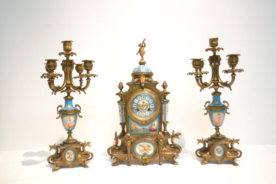 (3) FRENCH GILT METAL & SEVRES STYLE CLOCK SET - 2