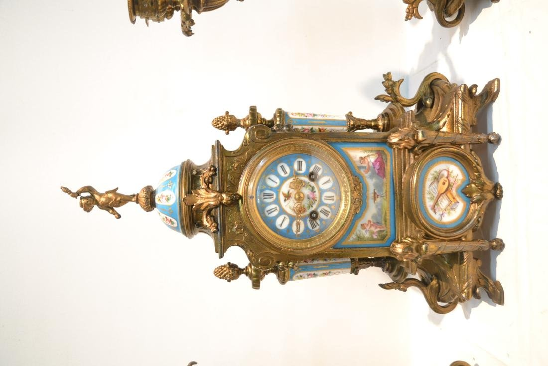(3) FRENCH GILT METAL & SEVRES STYLE CLOCK SET - 3