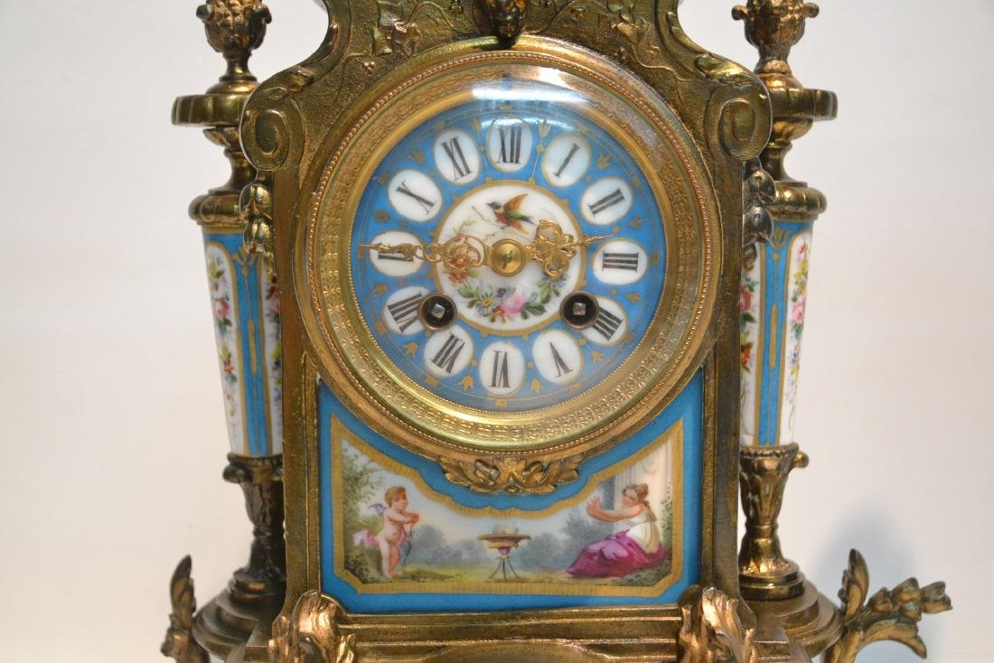 (3) FRENCH GILT METAL & SEVRES STYLE CLOCK SET - 4