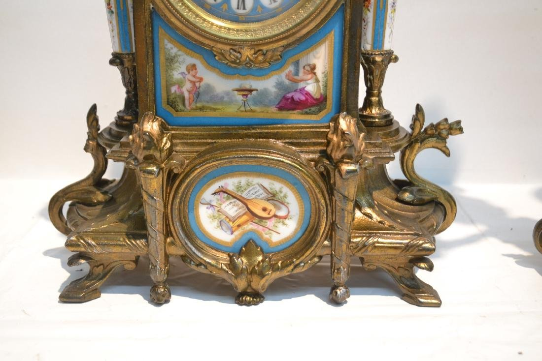 (3) FRENCH GILT METAL & SEVRES STYLE CLOCK SET - 5